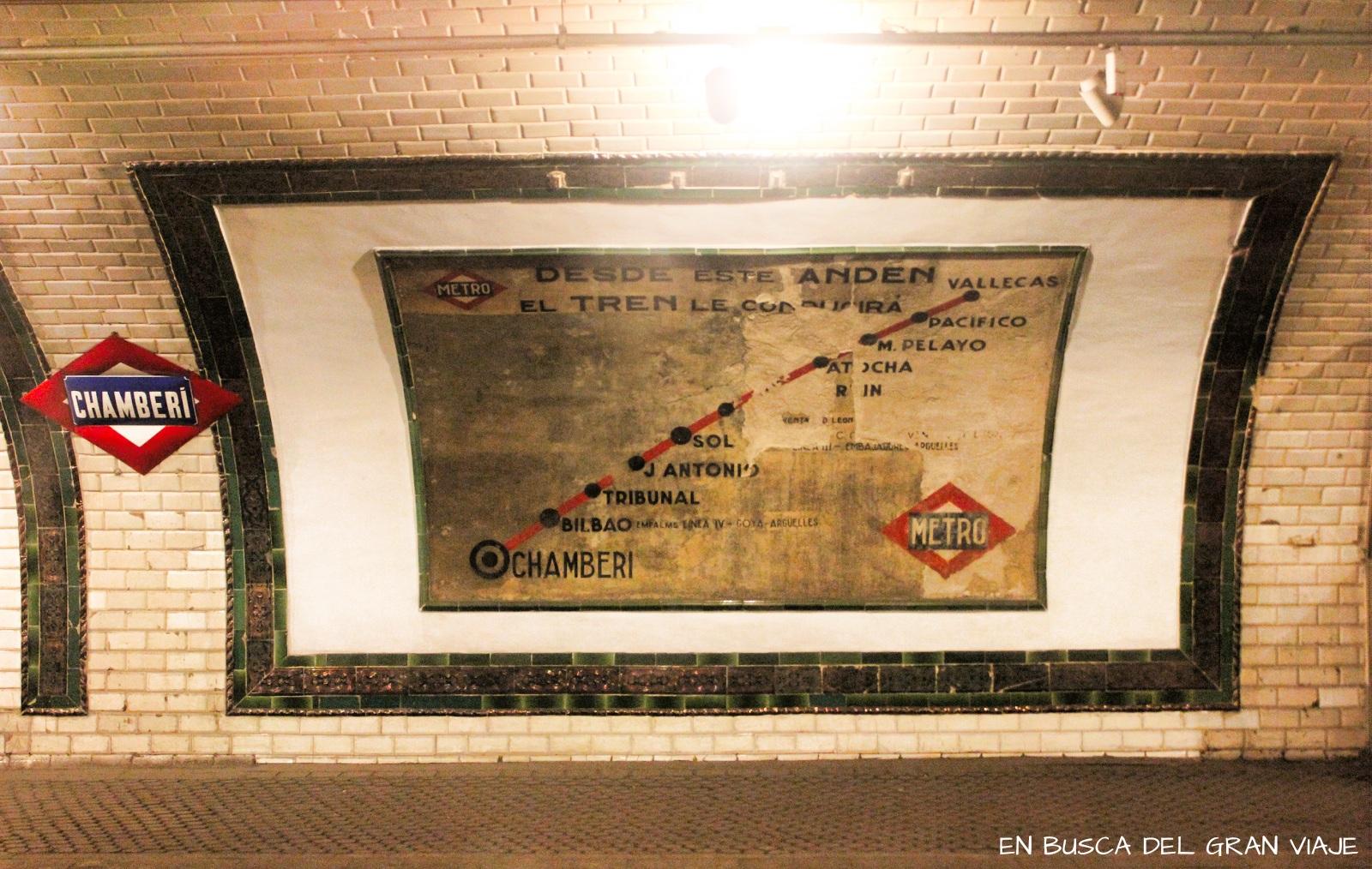 Mapa del Metro de la línea 1 desde la estación de Chamberí hasta