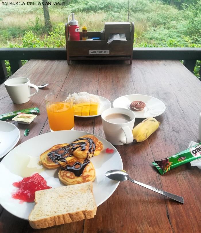 Desayuno con tortitas, tostadas, fruta y mango rice