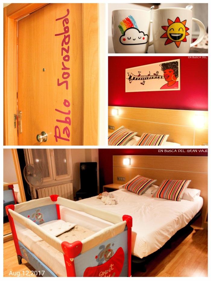 Collage de la habitación, la puerta con el nombre de Pablo Sorozabal, el detalle de las tazas, el cuadro musical del cabecero de la cama y nuestra habitación con la cuna para la peque