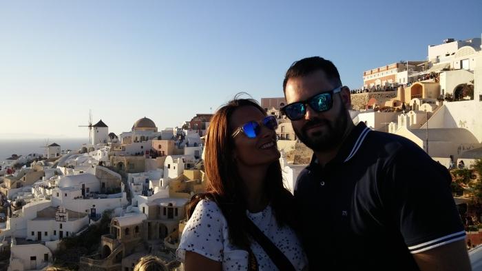 Lorena y Robert en Santorini